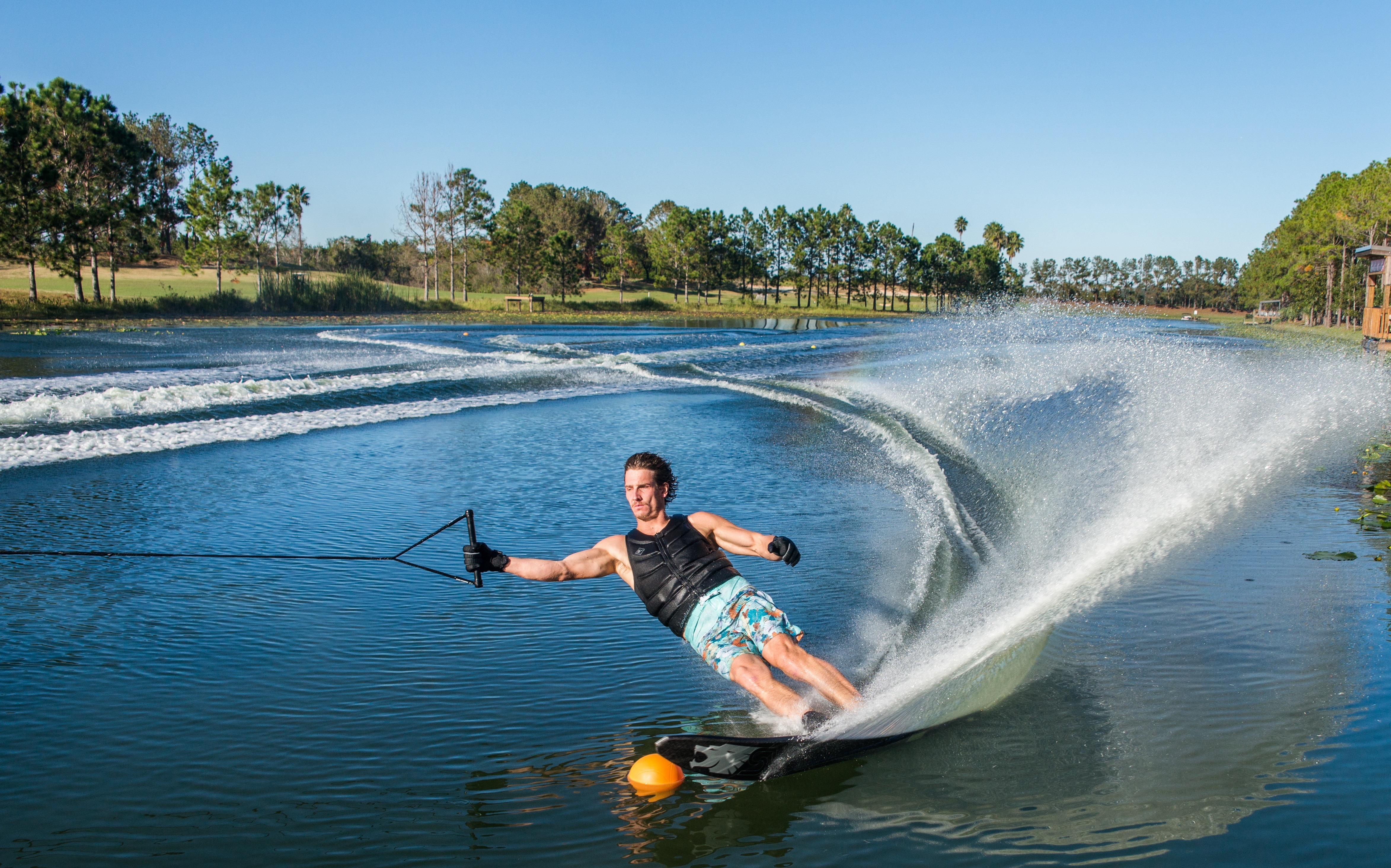 Ripping through his homelake, Swiss Waterski Resort in Clermont, FL Photo: Vincent Stadlbaur